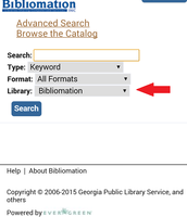 "To choose your library in the global catalog (acorn.biblio.org), tap the drop down menu that says ""Bibliomation."""