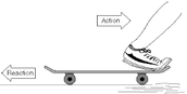 This is an example of the 3rd law of motion because when yo swing your foot the skate bored moves