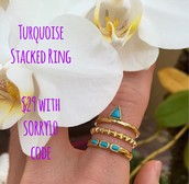 Turquoise Stacked Rings $29 with $10 off