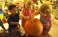 Come see our pumpkin on stage at the Book Fair on October 22 from 4:30-7:30.