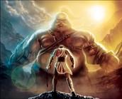 רואים את דוד החלש ואת גוליית החזק כאשר לגוליית יש יותר כוח ונשק ואילו לדוד רוגטקה ואבנים