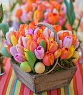Often bunnies are made out of candy or flowers and are part of the arrangement.