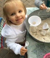 Isabelle really enjoyed working with the sand and funnel