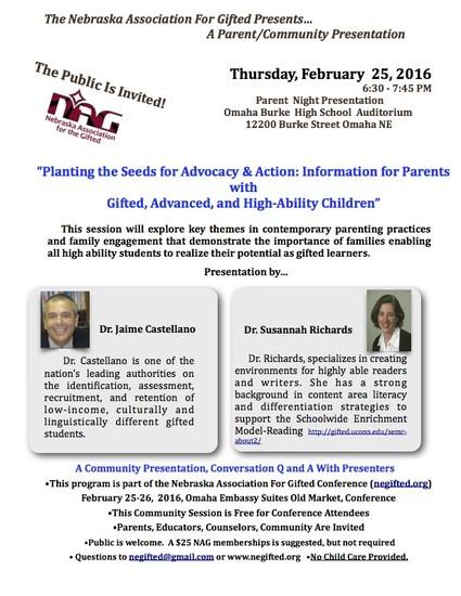 Nebraska Association for Gifted (NAG) Parent Night