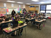 2nd and 5th graders coding together