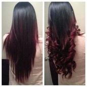 Burgundy dyed straight and curly hair