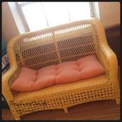 Yellow Wicker Sofa, Chair & Ottoman Set ~ $450