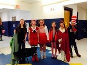 Fifth graders dressed up for Character Parade