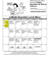 December Hot Lunch Menu