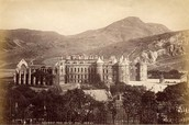 A 19th-century view of the Palace of Holyrood House from Calton Hill.
