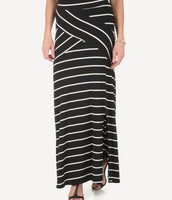 Stretchy Striped Maxi Skirt