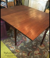 Antique Drop Leaf Table with Wooden Hinges - $450