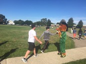 Carleton Shuffle with our mascot