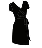 Short Sleeve Faux Wrap Dress - Black - Size S