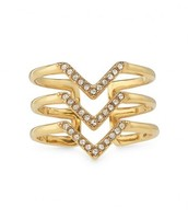 Gold Pave Chevron Ring (Size M/L - adjustable)