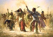 Aborignals dancing during a ceremony