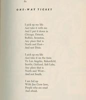 "The poem ""One Way Ticket"""