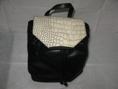 Danielle Nicole Black and Bone White Croc Purse/Backpack