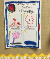 Kindergartners illustrate how we can help our earth