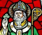 painted glass with image of st'patrick