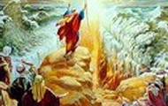 Moses raises his staff