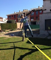 Doing slackline