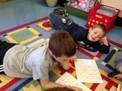 Nathan and Chris doing sight word work