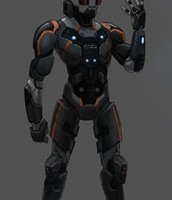 Orange and black exosuit for free ruining