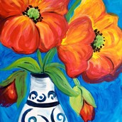 ON WHEELS - POPPIES IN A VASE