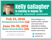 Kelly Gallagher is coming to Region 18!