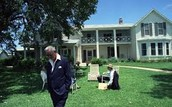 Lyndon B. Johnson at his house with his wife