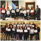 Board Honors PVHS Girls Basketball and Swimming/Diving Teams