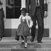 Ruby Bridges walking out of school.