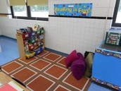 A comfortable place for students to read in Rachel Grochowski's room