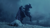 The headless horseman riding his horse throught midnight