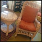 Vintage White Wicker Rocker & Side Table Set ~ $150