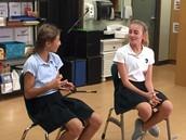 Sophia and Katie practice improv!