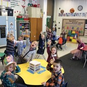 Excited to eat their 100 day snack.
