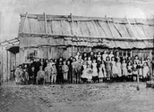 Children in school at the goldfields
