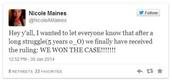 Nicole's tweet after winning her case..