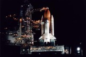 Space shuttle at night