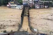 Bridges drowning into the flood