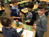 We set up a store and the students practiced setting prices, making change, and selling goods.
