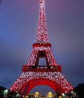 The Eiffel Tower lit up for the holidays