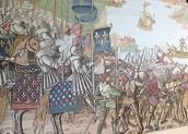 """נחיתת הצלבנים בדמייט, תחריט עץ מתוך הספר """"המסע הגדול של ירושלים"""", הודפס בפאריס בשנת 1522"""