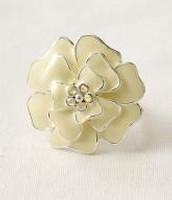 Ivory Enamel Flower Brooch