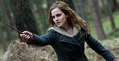 Interpretando a Hermione. Su personaje mas característico.