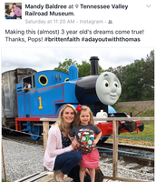 """Brittany's ride on Thomas inspired """"Thomas Day""""."""