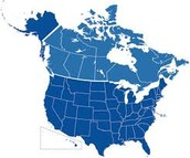 Map of the Unites States and Canada