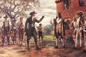 Bacon and his troops confront Governor Berkeley before the burning of Jamestown